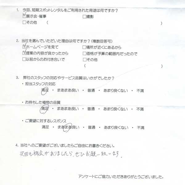 観葉植物レンタルを短期プランでご利用の渋谷区の会社様